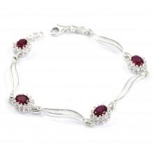 Piękna bransoletka MARKIZA z rubinami 19 cm