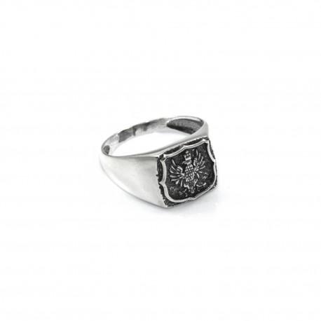 Stylowy sygnet srebrny z orłem