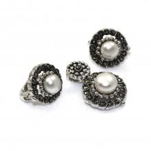 Stylowy komplet srebrny z perełkami i markazytami