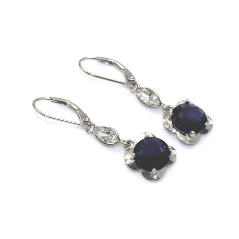6aed399da9b4b7 Kolczyki srebrne rodowane z szafirami - Jubiler Balais - biżuteria ...