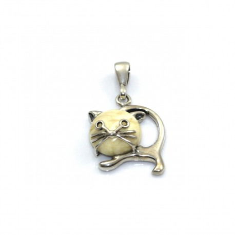 Wisiorek srebrny kot z mlecznym bursztynem