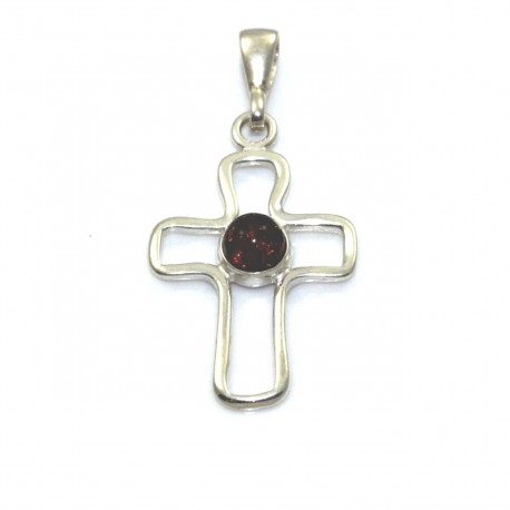 Wisiorek srebrny krzyż z naturalnym bursztynem