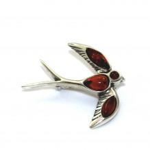 Broszka srebrna ptak z naturalnym bursztynem