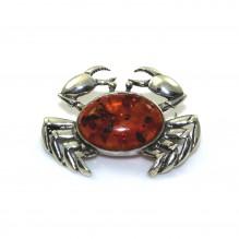 Broszka srebrna krab z naturalnym bursztynem