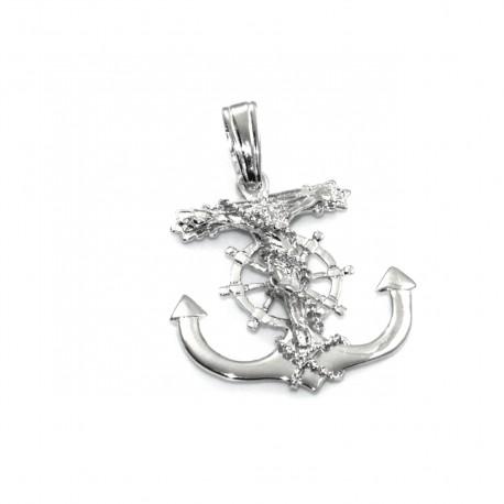 Krzyżyk srebrny w kotwicy