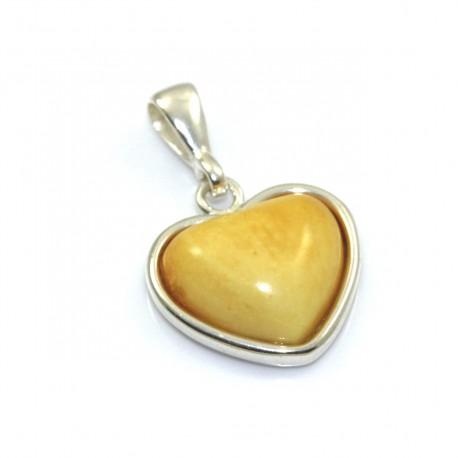 Wisiorek srebrny serce z mlecznym bursztynem