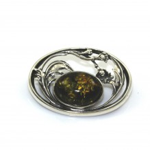 Broszka srebrna z zielonym bursztynem