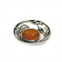 Broszka srebrna z naturalnym bursztynem