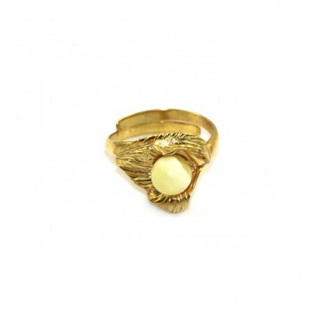 Pierścionek srebrny pozłacany z bursztynem