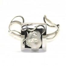 Bransoleta srebrna artystyczna z perłą Biwa
