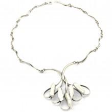 Artystyczny naszyjnik srebrny z perłami Biwa
