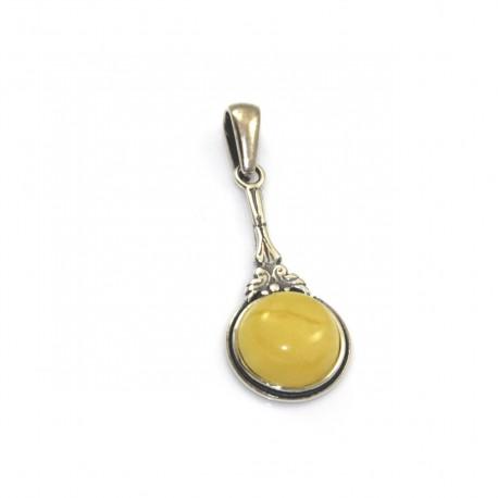 Wisiorek srebrny z naturalnym bursztynem