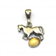 Wisiorek srebrny koń z bursztynem