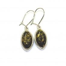 Kolczyki srebrne z zielonym bursztynem