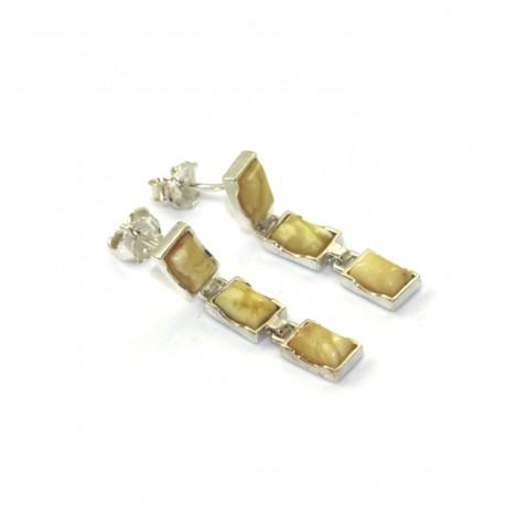Kolczyki srebrne  z naturalnym bursztynem