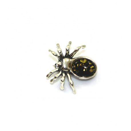 Broszka srebrna pająk z zielonym  bursztynem