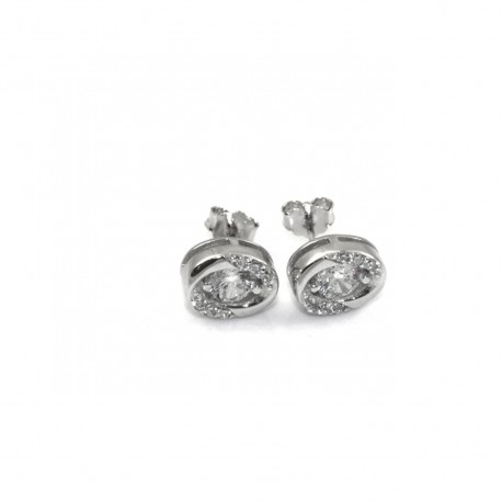 Kolczyki srebrne rodowane z cyrkoniami