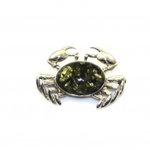 Broszka srebrna krab z zielonym bursztynem