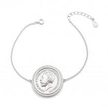 Modna bransoletka srebrna z monetą
