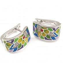 Kolczyki srebrne ręcznie malowane