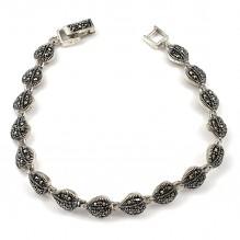 Stylowa bransoletka srebrna z markasytami