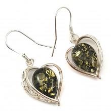 Kolczyki serca srebrne  z naturalnym bursztynem