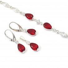 Klasyczny komplet srebrny rubinowy
