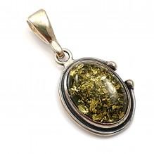 Wisiorek srebrny z zielonym bursztynem