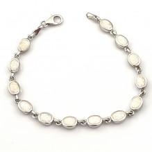 Bransoletka srebrna z naturalnym opalem białym