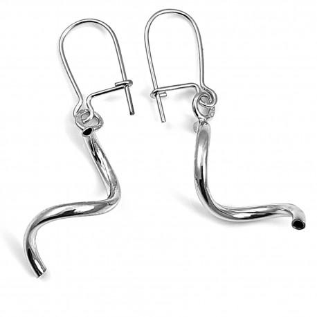 Kolczyki srebrne rodowane świderki