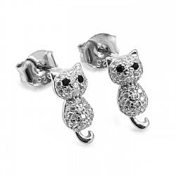 Kolczyki srebrne rodowane koty