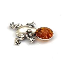 Broszka srebrna żaba z...