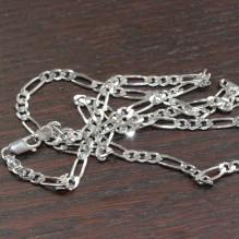 Łańcuszek srebrny rodowany  figaro 60 cm